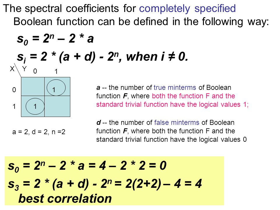 The spectral coefficients for completely specified Boolean function can be defined in the following way: s 0 = 2 n – 2 * a s i = 2 * (a + d) - 2 n, when i ≠ 0.