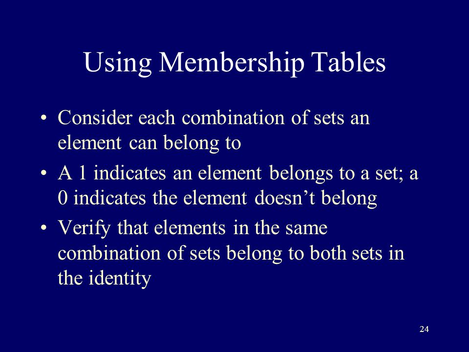 24 Using Membership Tables Consider each combination of sets an element can belong to A 1 indicates an element belongs to a set; a 0 indicates the element doesn't belong Verify that elements in the same combination of sets belong to both sets in the identity