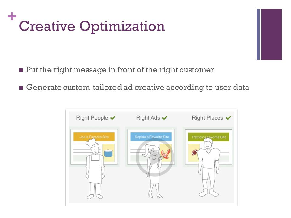 + Creative Optimization Put the right message in front of the right customer Generate custom-tailored ad creative according to user data