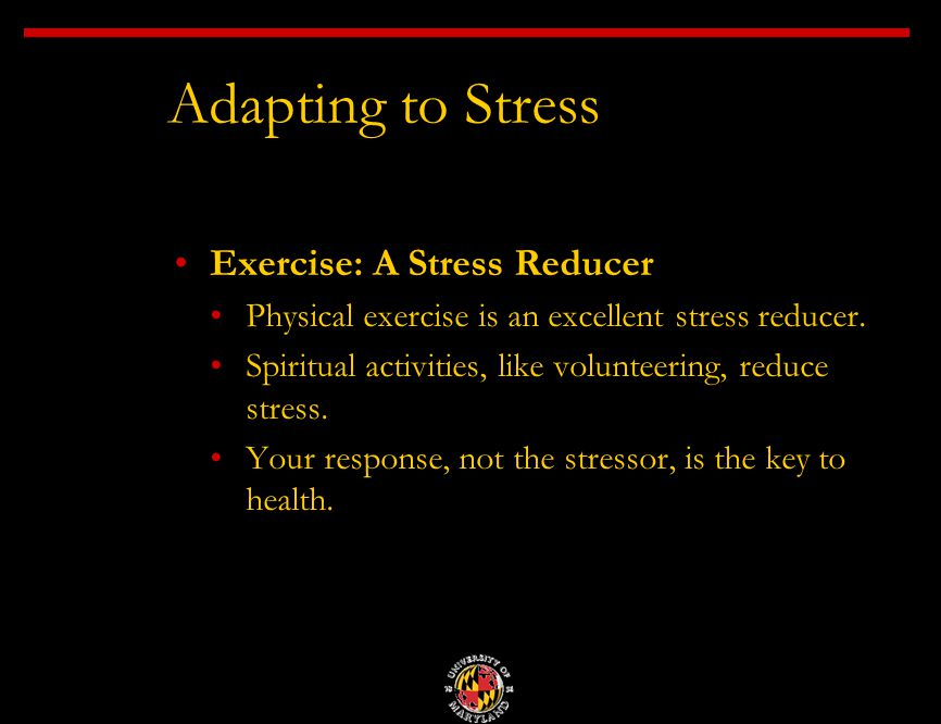 Exercise: A Stress Reducer Physical exercise is an excellent stress reducer.