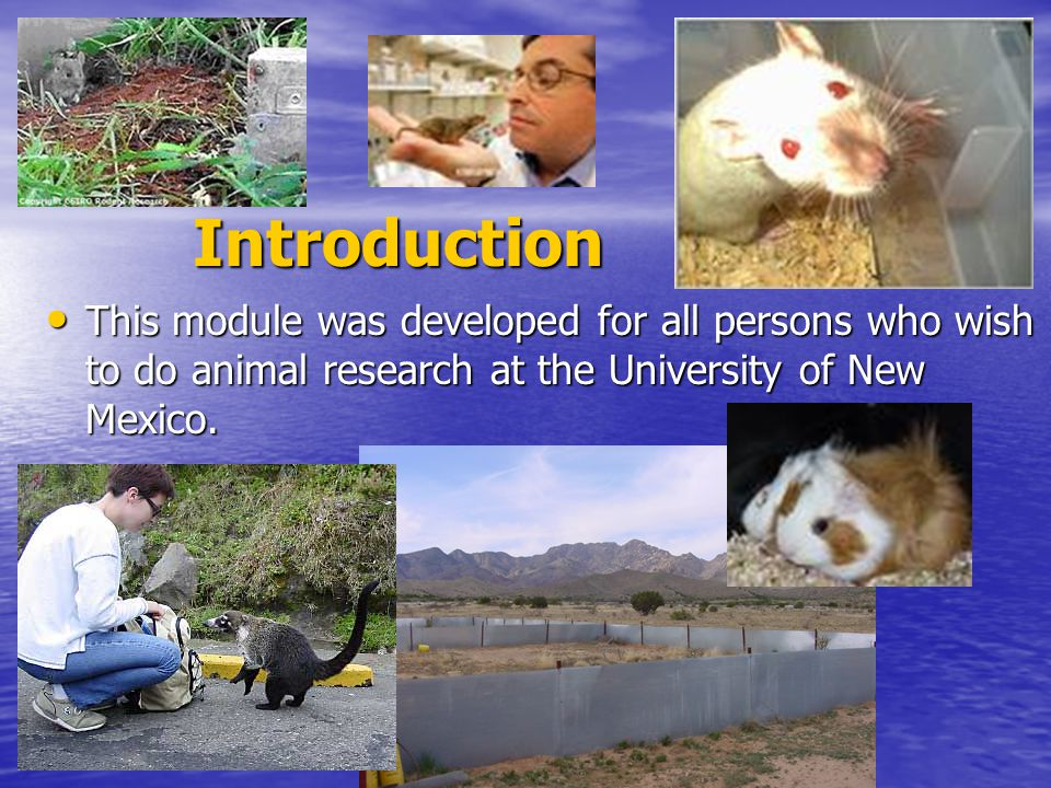 Introduction This module was developed for all persons who wish to do animal research at the University of New Mexico.