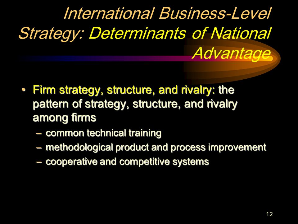 12 International Business-Level Strategy: Determinants of National Advantage Firm strategy, structure, and rivalry: the pattern of strategy, structure, and rivalry among firmsFirm strategy, structure, and rivalry: the pattern of strategy, structure, and rivalry among firms –common technical training –methodological product and process improvement –cooperative and competitive systems