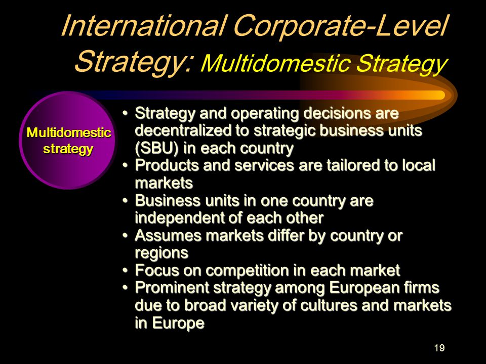 19 Multidomesticstrategy International Corporate-Level Strategy: Multidomestic Strategy Strategy and operating decisions are decentralized to strategic business units (SBU) in each countryStrategy and operating decisions are decentralized to strategic business units (SBU) in each country Products and services are tailored to local marketsProducts and services are tailored to local markets Business units in one country are independent of each otherBusiness units in one country are independent of each other Assumes markets differ by country or regionsAssumes markets differ by country or regions Focus on competition in each marketFocus on competition in each market Prominent strategy among European firms due to broad variety of cultures and markets in EuropeProminent strategy among European firms due to broad variety of cultures and markets in Europe