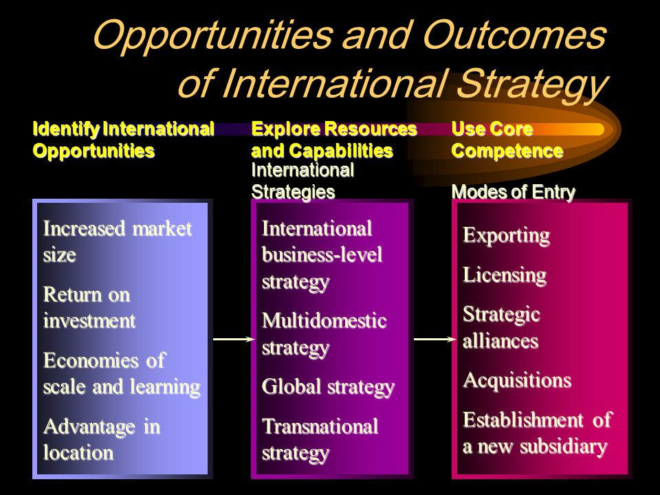 2 ExportingLicensing Strategic alliances Acquisitions Establishment of a new subsidiary International business-level strategy Multidomestic strategy Global strategy Transnational strategy Opportunities and Outcomes of International Strategy Increased market size Return on investment Economies of scale and learning Advantage in location Identify International Opportunities Explore Resources and Capabilities Use Core Competence International Strategies Modes of Entry