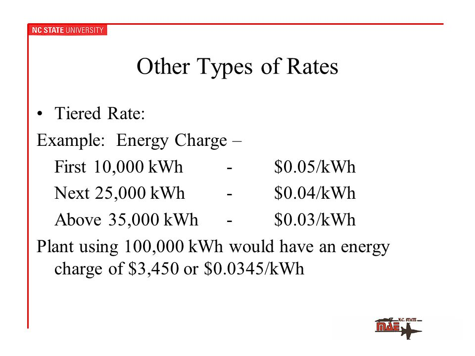 Other Types of Rates Tiered Rate: Example: Energy Charge – First 10,000 kWh-$0.05/kWh Next 25,000 kWh-$0.04/kWh Above 35,000 kWh-$0.03/kWh Plant using 100,000 kWh would have an energy charge of $3,450 or $0.0345/kWh