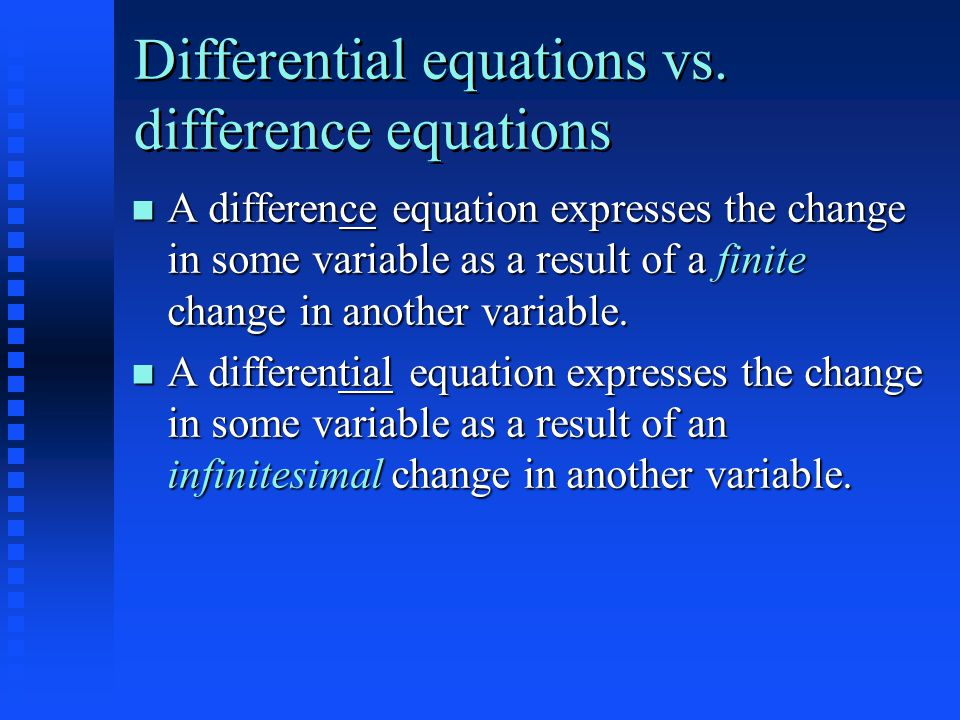 Differential equations vs.