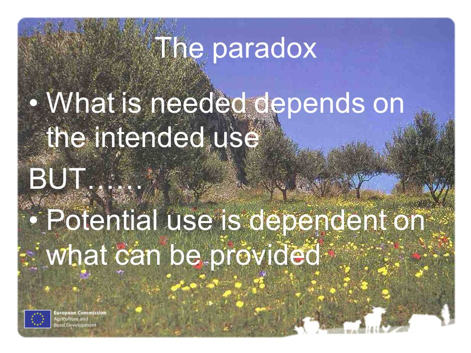 The paradox What is needed depends on the intended use BUT…… Potential use is dependent on what can be provided