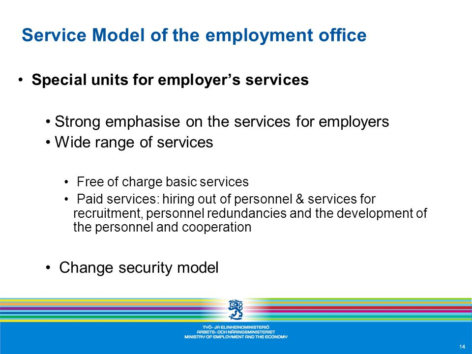 14 Service Model of the employment office Special units for employer's services Strong emphasise on the services for employers Wide range of services Free of charge basic services Paid services: hiring out of personnel & services for recruitment, personnel redundancies and the development of the personnel and cooperation Change security model