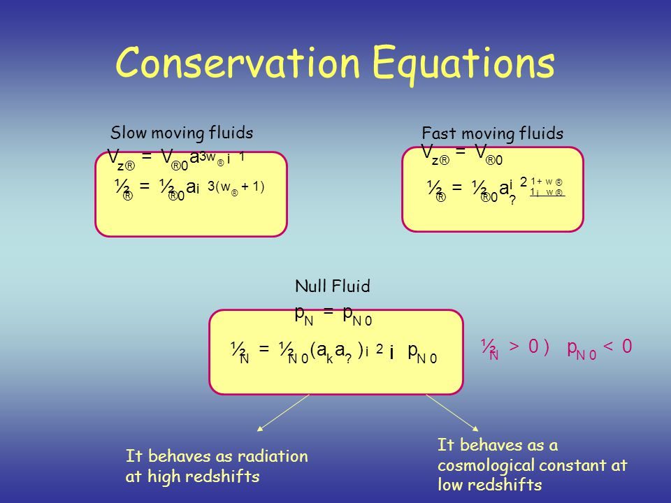 Conservation Equations Slow moving fluids Fast moving fluids V z® = V ® 0 ½ ® = ½ ® 0 a ¡ 3 ( w ® + 1 ) Null Fluid p N = p N 0 ½ N = ½ N 0 ( a k a .