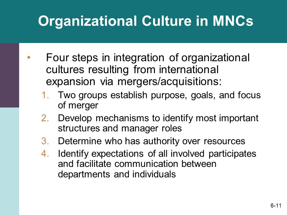 6-11 Organizational Culture in MNCs Four steps in integration of organizational cultures resulting from international expansion via mergers/acquisitions: 1.Two groups establish purpose, goals, and focus of merger 2.Develop mechanisms to identify most important structures and manager roles 3.Determine who has authority over resources 4.Identify expectations of all involved participates and facilitate communication between departments and individuals