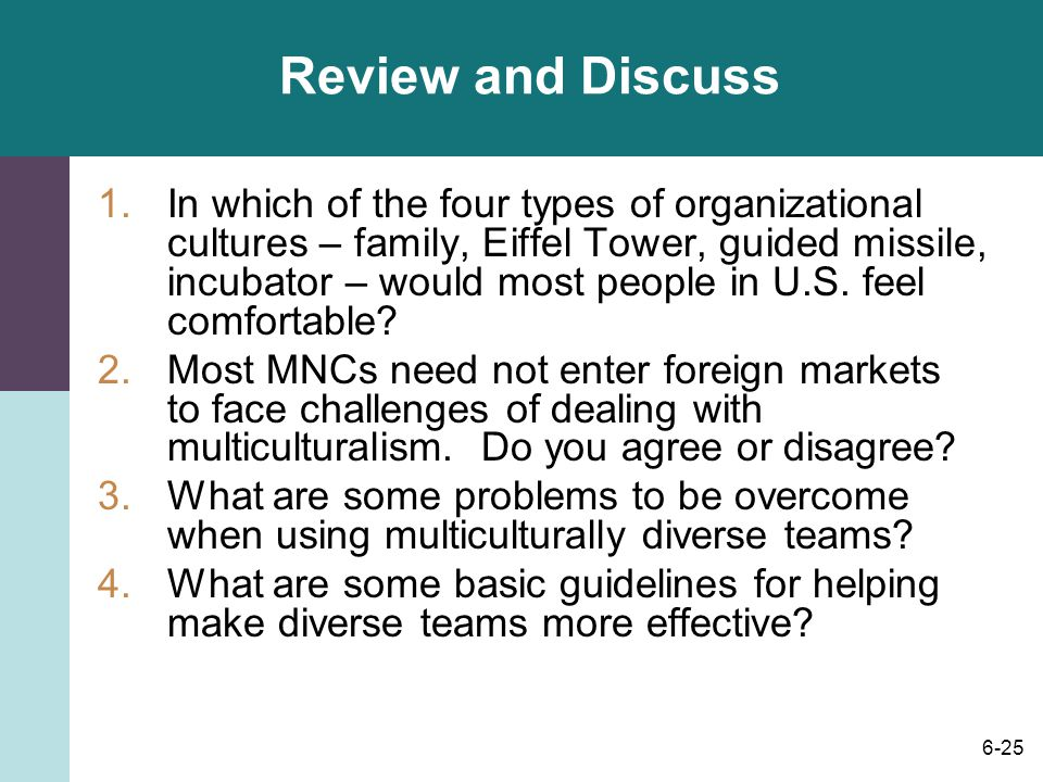 6-25 Review and Discuss 1.In which of the four types of organizational cultures – family, Eiffel Tower, guided missile, incubator – would most people in U.S.