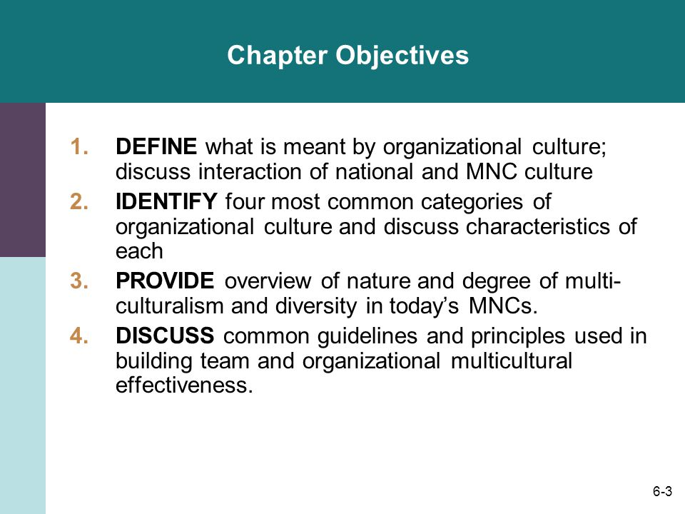 6-3 Chapter Objectives 1.DEFINE what is meant by organizational culture; discuss interaction of national and MNC culture 2.IDENTIFY four most common categories of organizational culture and discuss characteristics of each 3.PROVIDE overview of nature and degree of multi- culturalism and diversity in today's MNCs.