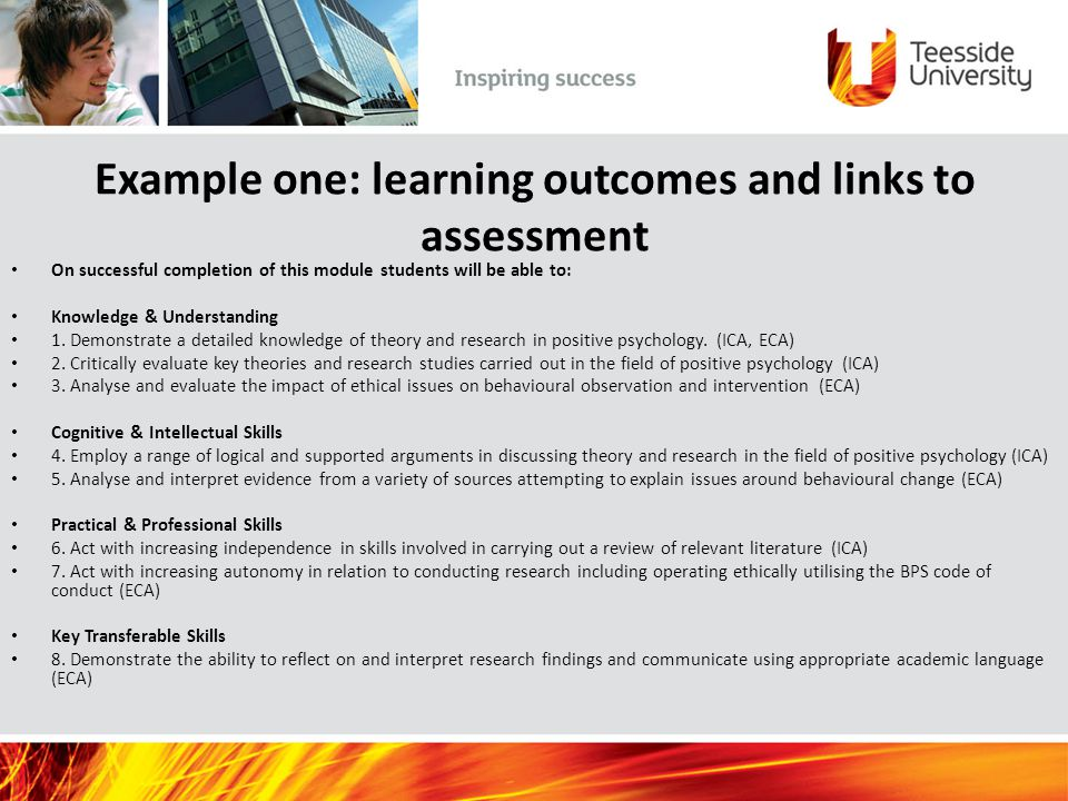 Example one: learning outcomes and links to assessment On successful completion of this module students will be able to: Knowledge & Understanding 1.