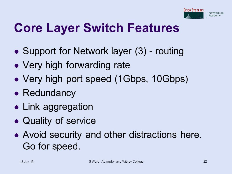 22 13-Jun-15 S Ward Abingdon and Witney College Core Layer Switch Features Support for Network layer (3) - routing Very high forwarding rate Very high port speed (1Gbps, 10Gbps) Redundancy Link aggregation Quality of service Avoid security and other distractions here.