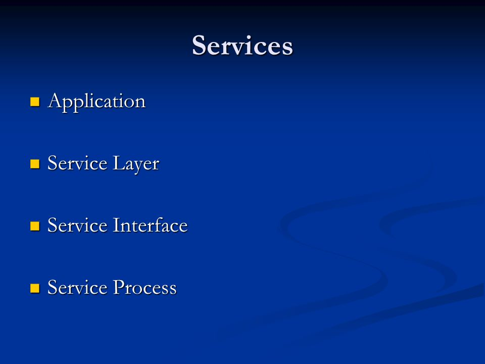 Services Application Application Service Layer Service Layer Service Interface Service Interface Service Process Service Process