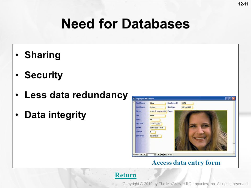 12-11 Sharing Security Less data redundancy Data integrity Need for Databases Access data entry form Return Copyright © 2010 by The McGraw-Hill Companies, Inc.