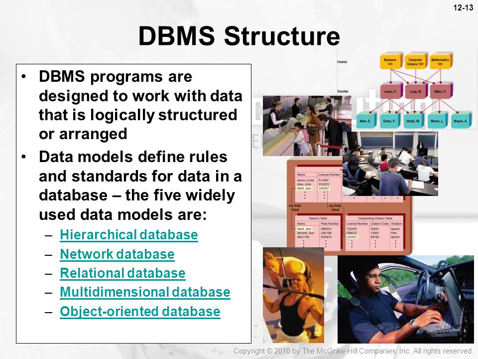 DBMS Structure DBMS programs are designed to work with data that is logically structured or arranged Data models define rules and standards for data in a database – the five widely used data models are: –Hierarchical databaseHierarchical database –Network databaseNetwork database –Relational databaseRelational database –Multidimensional databaseMultidimensional database –Object-oriented databaseObject-oriented database Copyright © 2010 by The McGraw-Hill Companies, Inc.