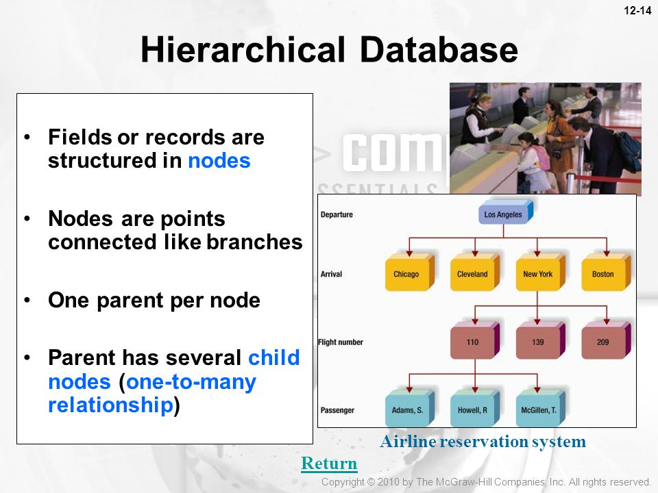 Hierarchical Database Fields or records are structured in nodes Nodes are points connected like branches One parent per node Parent has several child nodes (one-to-many relationship) Return Airline reservation system Copyright © 2010 by The McGraw-Hill Companies, Inc.