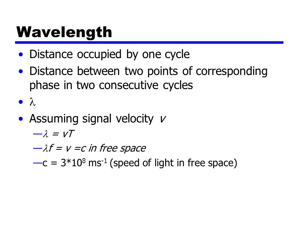 Wavelength Distance occupied by one cycle Distance between two points of corresponding phase in two consecutive cycles Assuming signal velocity v — = vT — f = v =c in free space —c = 3*10 8 ms -1 (speed of light in free space)