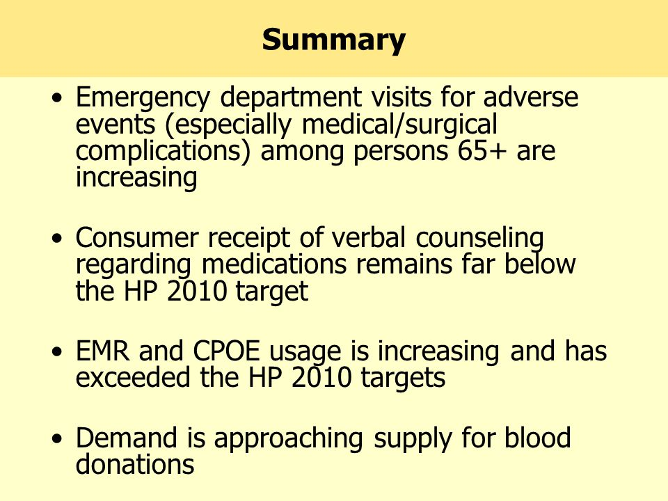 Summary Emergency department visits for adverse events (especially medical/surgical complications) among persons 65+ are increasing Consumer receipt of verbal counseling regarding medications remains far below the HP 2010 target EMR and CPOE usage is increasing and has exceeded the HP 2010 targets Demand is approaching supply for blood donations