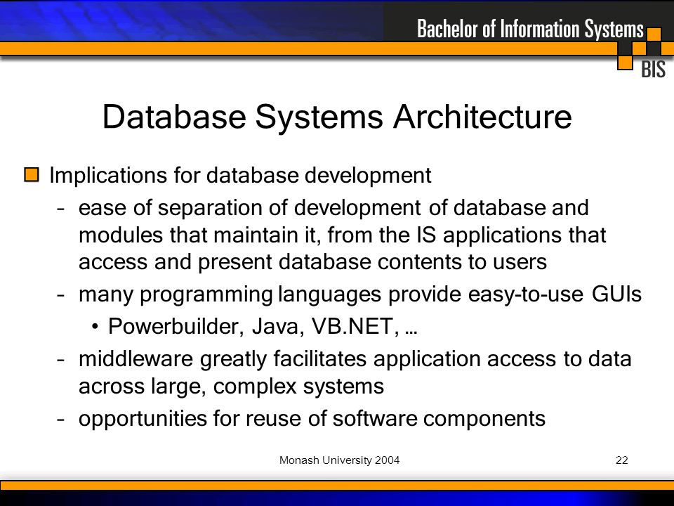 Monash University Implications for database development –ease of separation of development of database and modules that maintain it, from the IS applications that access and present database contents to users –many programming languages provide easy-to-use GUIs Powerbuilder, Java, VB.NET, … –middleware greatly facilitates application access to data across large, complex systems –opportunities for reuse of software components Database Systems Architecture