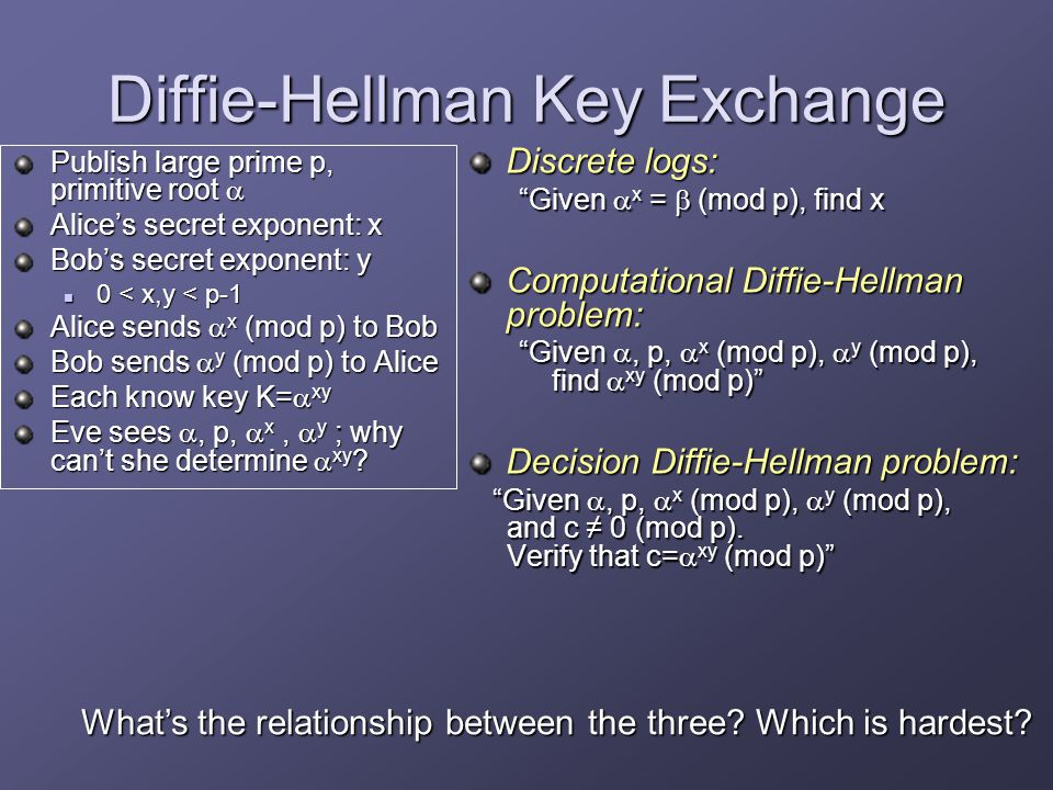 Diffie-Hellman Key Exchange Publish large prime p, primitive root  Alice's secret exponent: x Bob's secret exponent: y 0 < x,y < p-1 0 < x,y < p-1 Alice sends  x (mod p) to Bob Bob sends  y (mod p) to Alice Each know key K=  xy Eve sees , p,  x,  y ; why can't she determine  xy .