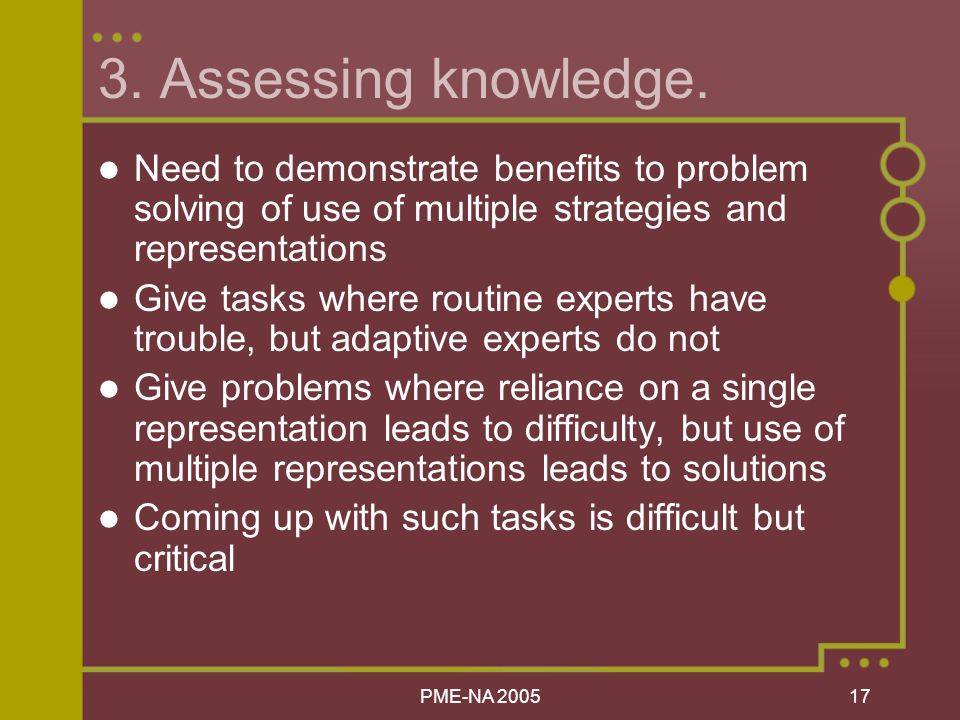 PME-NA Assessing knowledge.