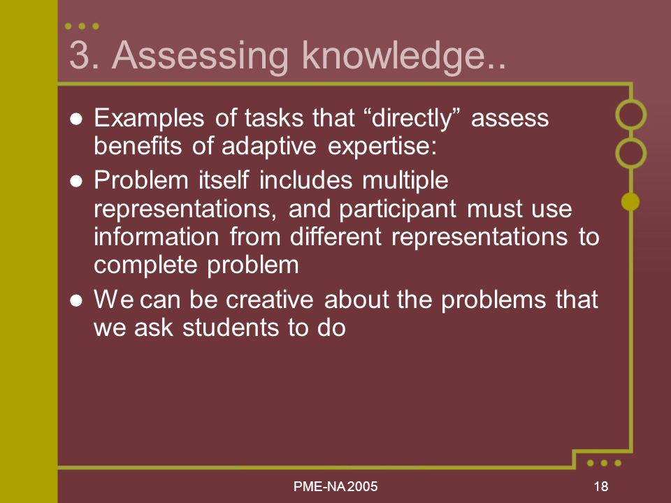 PME-NA Assessing knowledge..