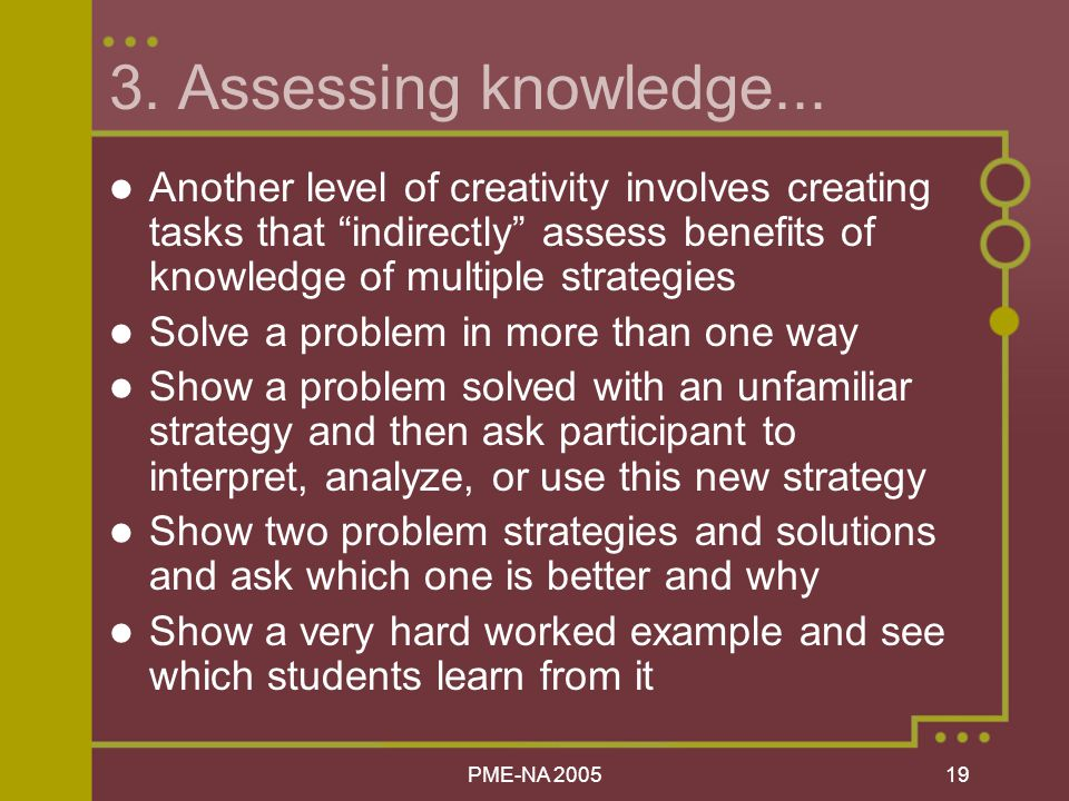 PME-NA Assessing knowledge...