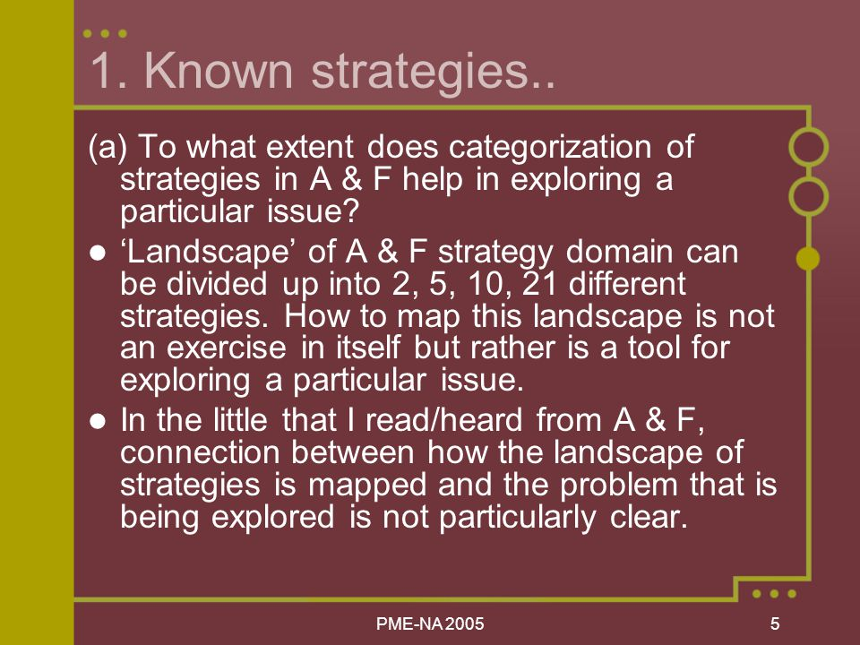 PME-NA Known strategies..