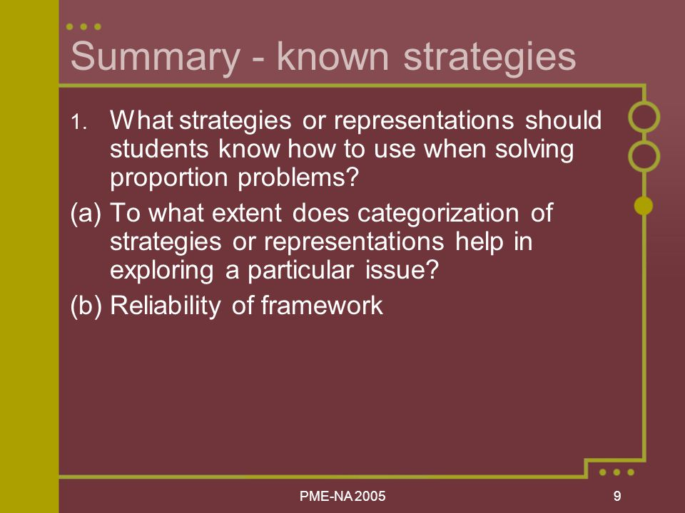 PME-NA Summary - known strategies 1.