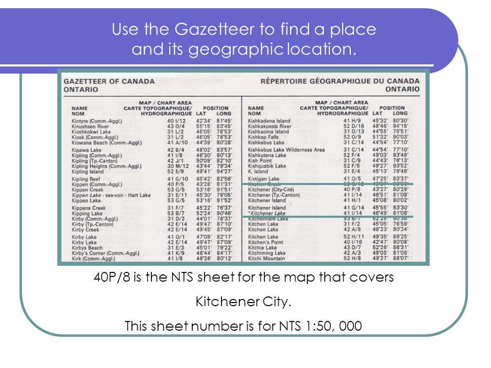 Use the Gazetteer to find a place and its geographic location.