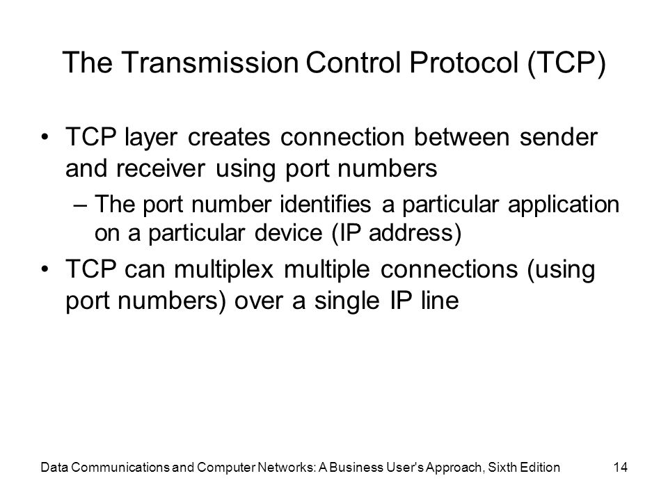 Data Communications and Computer Networks: A Business User s Approach, Sixth Edition14 The Transmission Control Protocol (TCP) TCP layer creates connection between sender and receiver using port numbers –The port number identifies a particular application on a particular device (IP address) TCP can multiplex multiple connections (using port numbers) over a single IP line