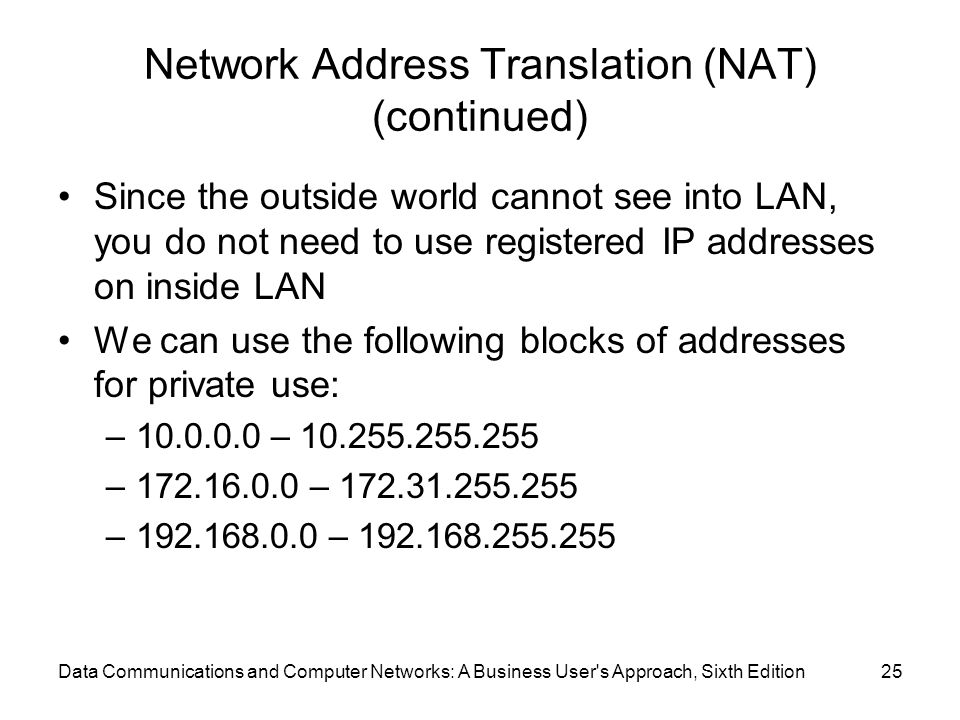 Data Communications and Computer Networks: A Business User s Approach, Sixth Edition25 Network Address Translation (NAT) (continued) Since the outside world cannot see into LAN, you do not need to use registered IP addresses on inside LAN We can use the following blocks of addresses for private use: –10.0.0.0 – 10.255.255.255 –172.16.0.0 – 172.31.255.255 –192.168.0.0 – 192.168.255.255
