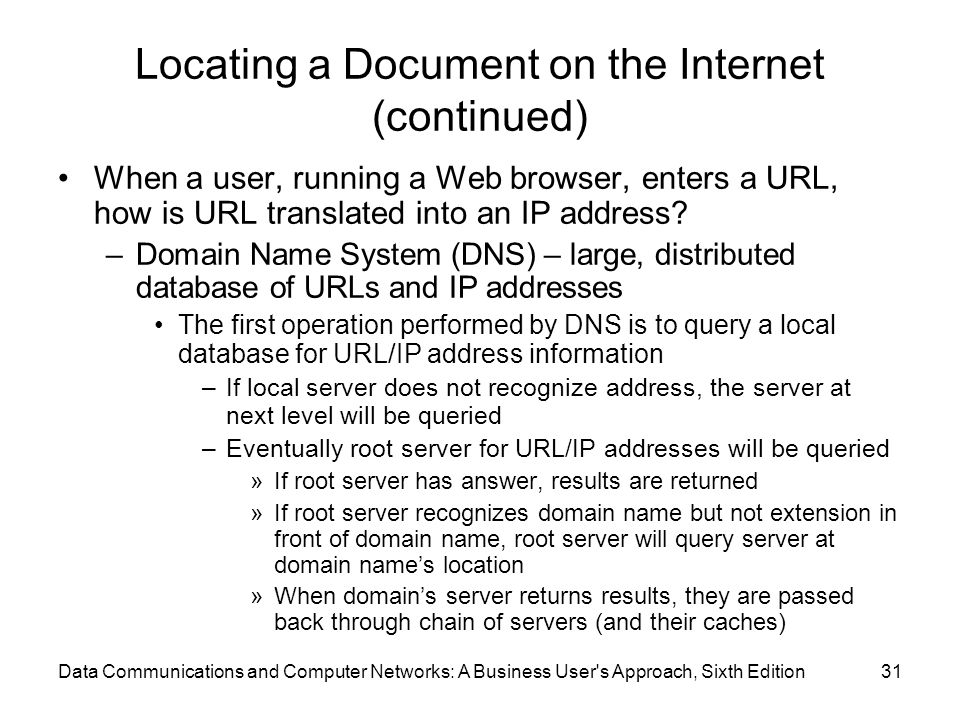 Data Communications and Computer Networks: A Business User s Approach, Sixth Edition31 Locating a Document on the Internet (continued) When a user, running a Web browser, enters a URL, how is URL translated into an IP address.