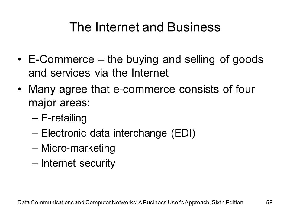 Data Communications and Computer Networks: A Business User s Approach, Sixth Edition58 The Internet and Business E-Commerce – the buying and selling of goods and services via the Internet Many agree that e-commerce consists of four major areas: –E-retailing –Electronic data interchange (EDI) –Micro-marketing –Internet security