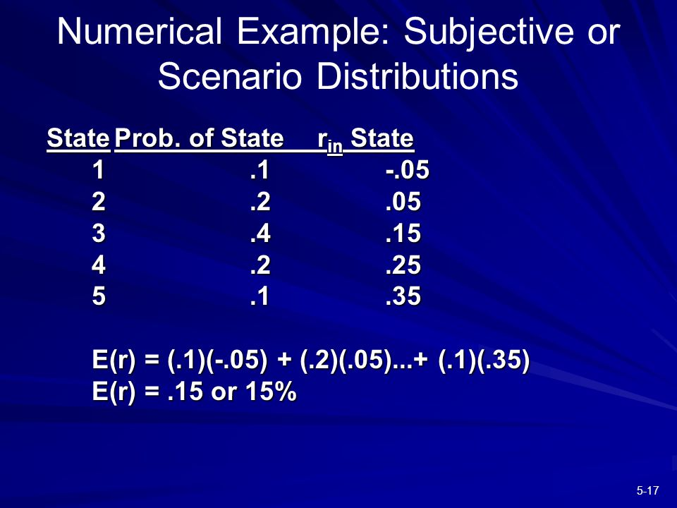 5-17 Numerical Example: Subjective or Scenario Distributions StateProb.