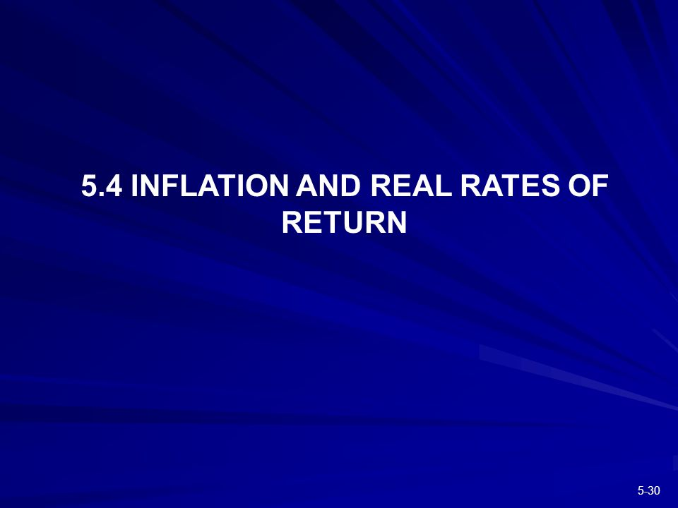 INFLATION AND REAL RATES OF RETURN
