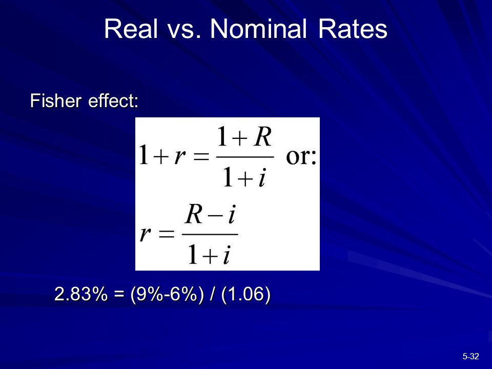 5-32 Real vs. Nominal Rates Fisher effect: 2.83% = (9%-6%) / (1.06)