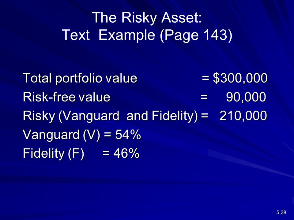 5-38 The Risky Asset: Text Example (Page 143) Total portfolio value = $300,000 Risk-free value = 90,000 Risky (Vanguard and Fidelity) = 210,000 Vanguard (V) = 54% Fidelity (F) = 46%