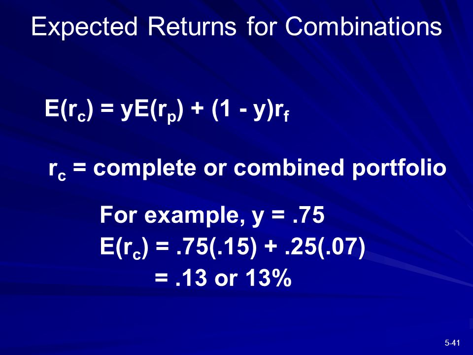 5-41 E(r c ) = yE(r p ) + (1 - y)r f r c = complete or combined portfolio For example, y =.75 E(r c ) =.75(.15) +.25(.07) =.13 or 13% Expected Returns for Combinations