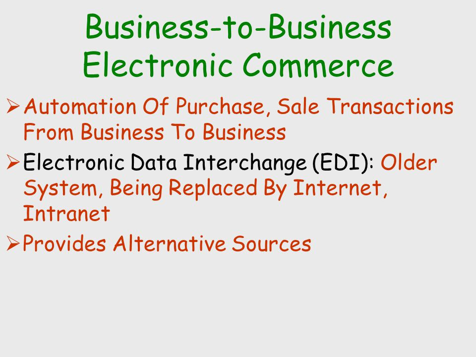 INTERNET BUSINESS MODELS  VIRTUAL STOREFRONT: Sells goods, services on-line  MARKETPLACE CONCENTRATOR: Concentrates information from several providers  ON-LINE EXCHANGE: Bid-ask system, multiple buyers, sellers  INFORMATION BROKER: Provide info on products, pricing, etc.