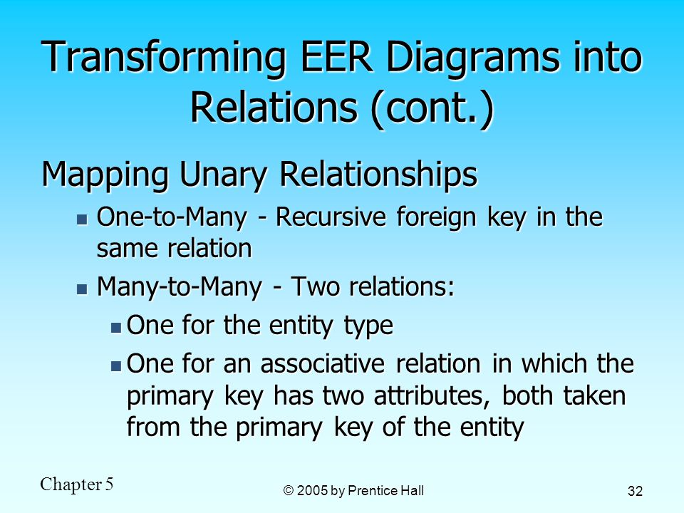 Chapter 5 © 2005 by Prentice Hall 32 Transforming EER Diagrams into Relations (cont.) Mapping Unary Relationships One-to-Many - Recursive foreign key in the same relation One-to-Many - Recursive foreign key in the same relation Many-to-Many - Two relations: Many-to-Many - Two relations: One for the entity type One for the entity type One for an associative relation in which the primary key has two attributes, both taken from the primary key of the entity One for an associative relation in which the primary key has two attributes, both taken from the primary key of the entity