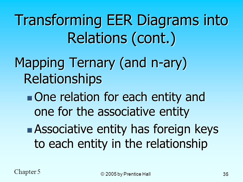 Chapter 5 © 2005 by Prentice Hall 35 Transforming EER Diagrams into Relations (cont.) Mapping Ternary (and n-ary) Relationships One relation for each entity and one for the associative entity One relation for each entity and one for the associative entity Associative entity has foreign keys to each entity in the relationship Associative entity has foreign keys to each entity in the relationship