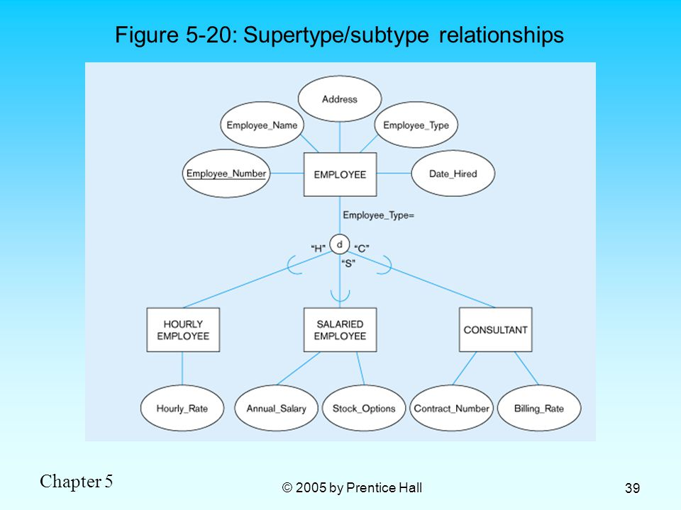 Chapter 5 © 2005 by Prentice Hall 39 Figure 5-20: Supertype/subtype relationships