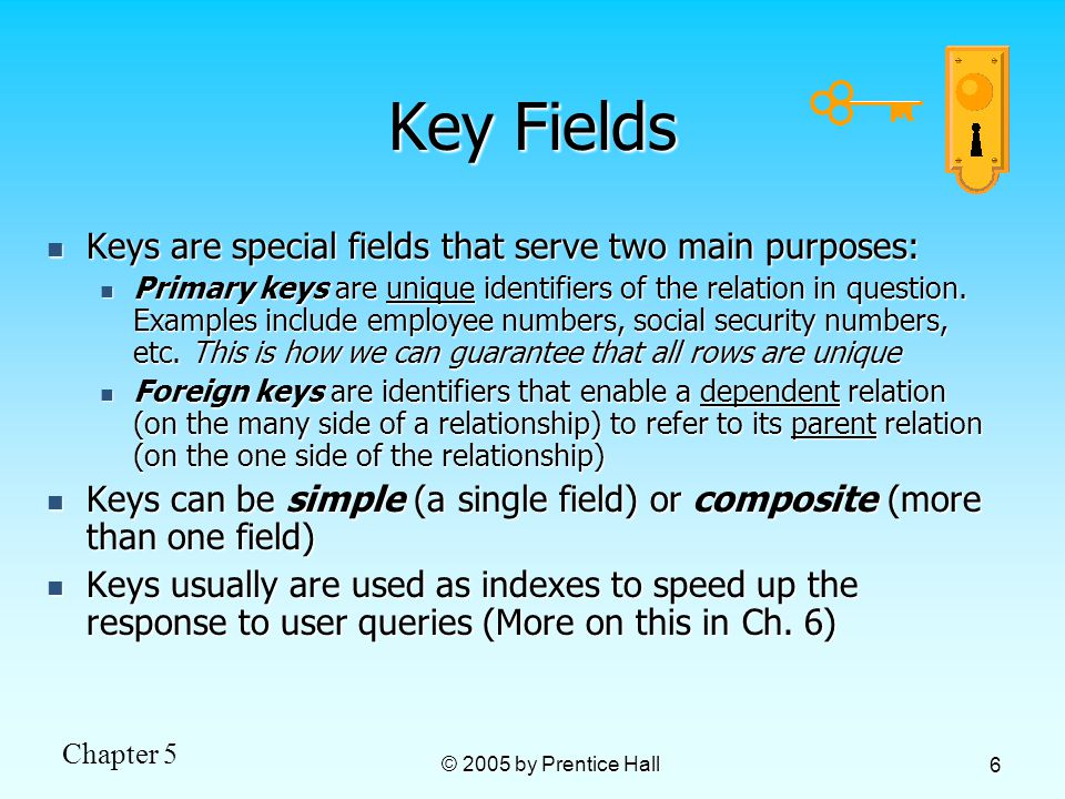 Chapter 5 © 2005 by Prentice Hall 6 Key Fields Keys are special fields that serve two main purposes: Keys are special fields that serve two main purposes: Primary keys are unique identifiers of the relation in question.
