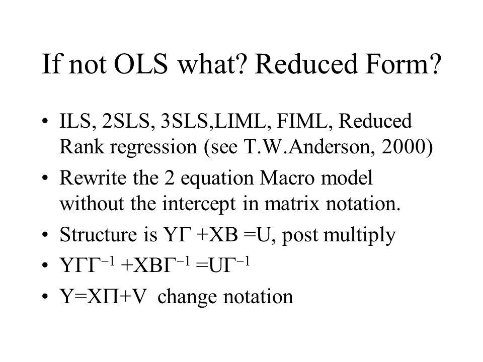 Simultaneous Equation Models class notes by Prof. Vinod all rights ...