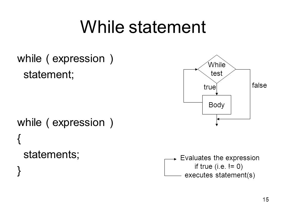 15 While statement while ( expression ) statement; while ( expression ) { statements; } Evaluates the expression if true (i.e.