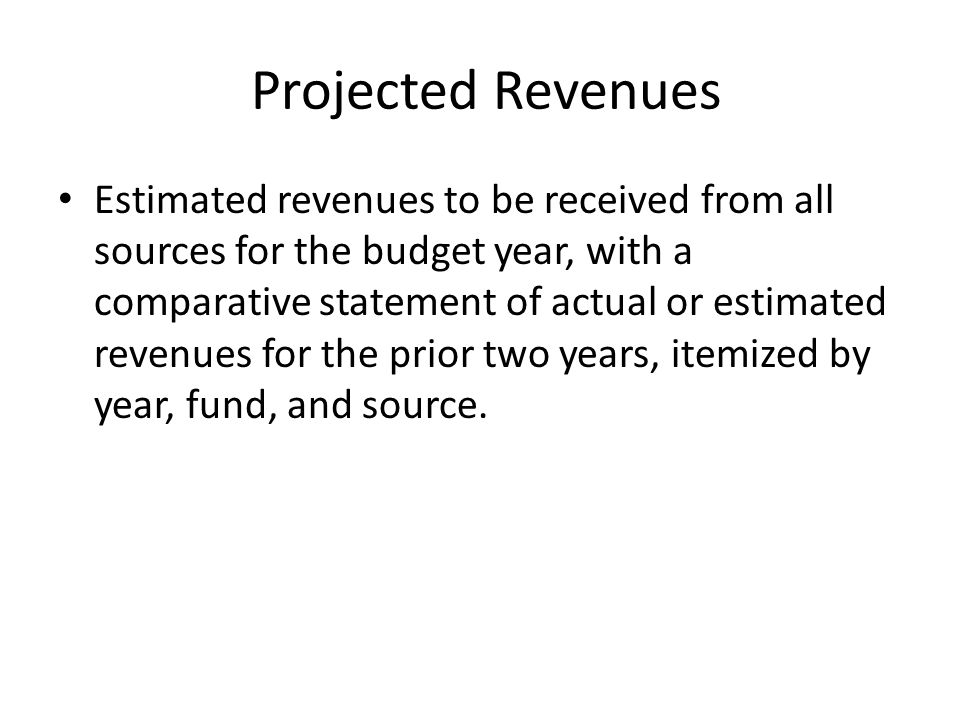 Projected Revenues Estimated revenues to be received from all sources for the budget year, with a comparative statement of actual or estimated revenues for the prior two years, itemized by year, fund, and source.