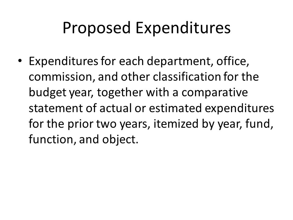 Proposed Expenditures Expenditures for each department, office, commission, and other classification for the budget year, together with a comparative statement of actual or estimated expenditures for the prior two years, itemized by year, fund, function, and object.